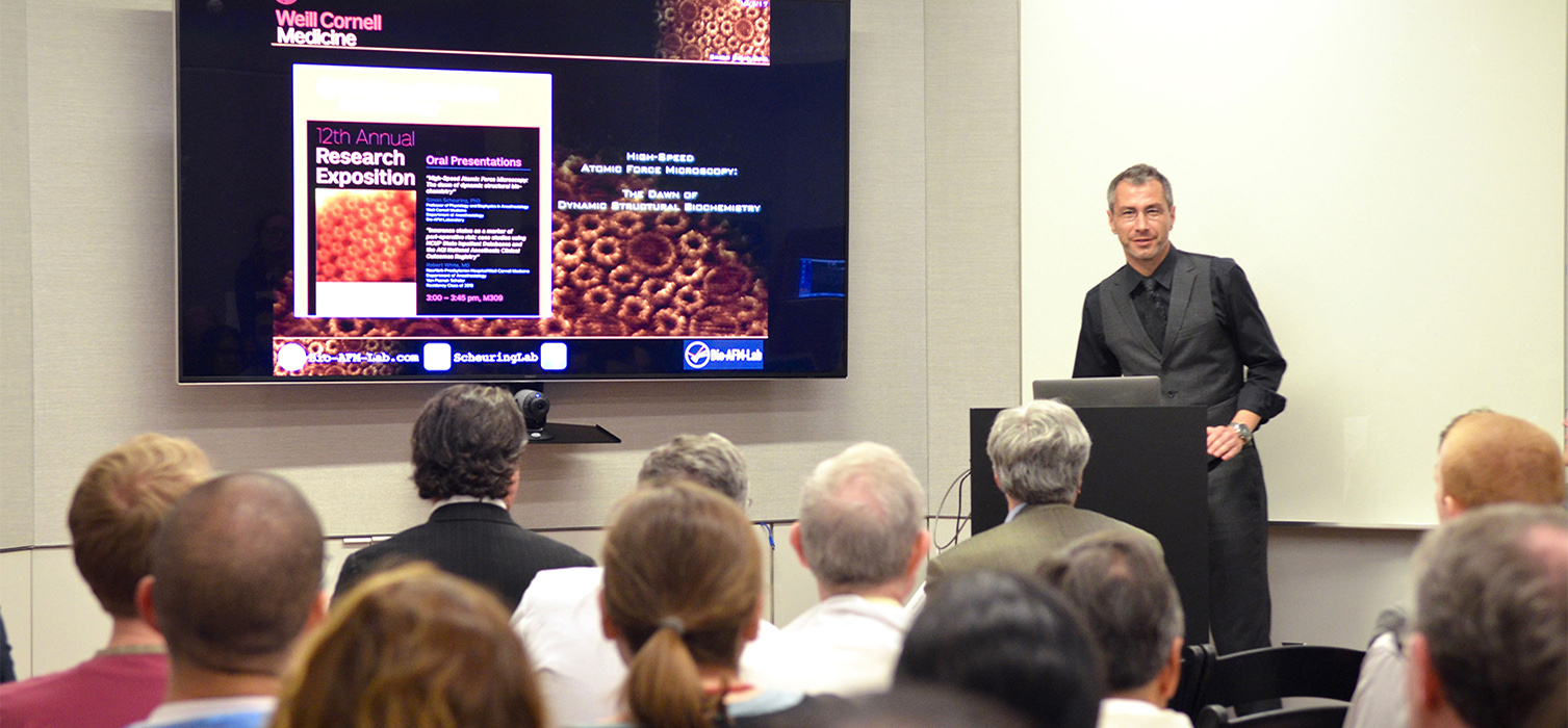Dr. Simon Scheuring speaking at the Research Expo
