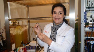 Dr. Calderon in the lab